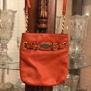 Michael Kors cross body leather orange bag